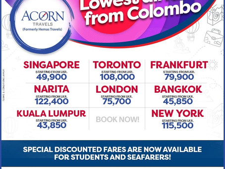 LOWEST AIRFARES from Colombo!