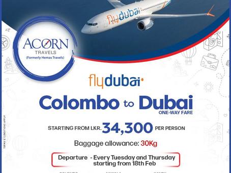Colombo to Dubai on Fly Dubai!
