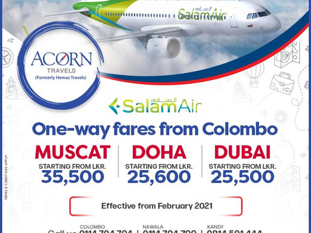 Lowest fares to Muscat, Doha & Dubai now on Salam Air!