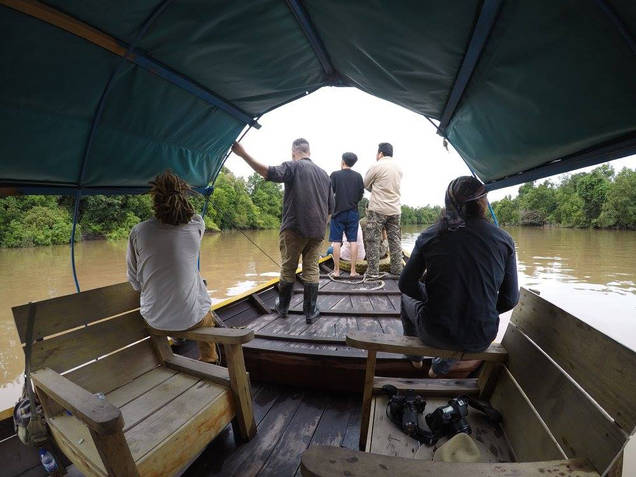 On a boat in Borneo