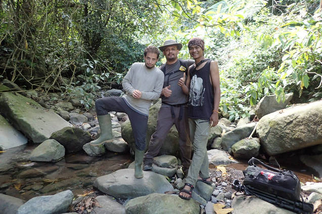 Jaime from Photo Wildlife Tours and Daniel from Jungle Diaries with our guide Angga at Mt. Halimun Salak National Park.