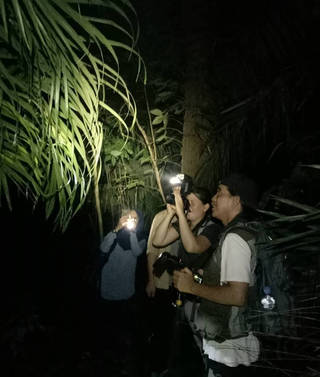 Our clients Timo and Maike from Germany on a trip in West Java, accompanied by celebrity wildlife photographer Riza Marlon