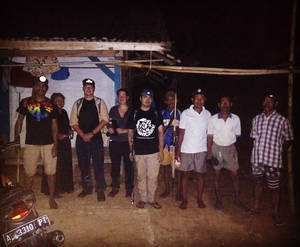 Timo and Maike with our guides and some local snake hunters in Banten