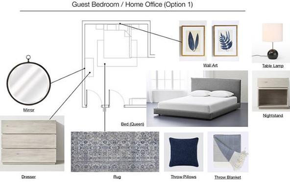 home office design. Neutral tones, blue