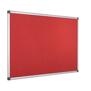Value Bi-Office Felt Notice Board Aluminium Frame 1200 x 900mm Red