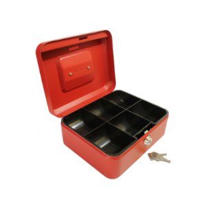 Value 20cm (8 Inch) key lock Metal Cash Box (Choice of Colour) Black/Blue/Red