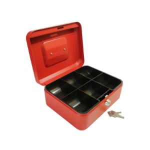 Value 20cm (8 Inch) key lock Metal Cash Box (Choice of Colour) Black/Blue/Red