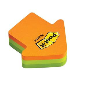 Post-it Sticky Notes 70x70mm Arrow Shaped Neon Orange/Green (1 x 225 Sheets)