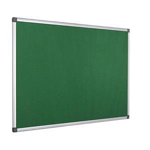Value Bi-Office Felt Notice Board Aluminium Frame 1200 x 900mm Green