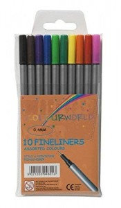 Value Fineliner Pens Assorted Colours (Pack of 10)
