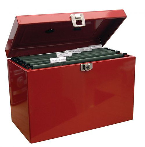 Value A4 Metal File Box with 5 Suspension Files (Red)
