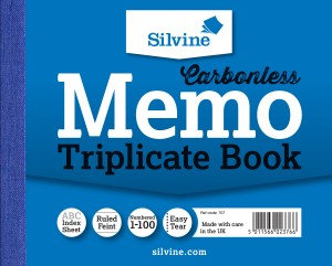 Value Silvine Triplicate Book Memo Carbonless 102mmx127mm 1-100 (Pack 6)