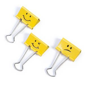 Value Rapesco (32mm) Assorted Emojis Foldback Clips (Bright Yellow) Pack of 20
