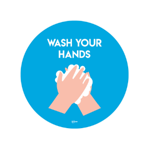 Twin Pack Avery COVID-19 Wash Your Hands Circular Sticker 275mm
