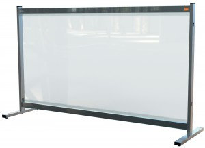 The Nobo clear PVC desk divider screen 1470mm x 860mm
