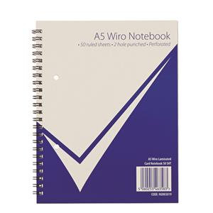 Value A5 Wiro Notebook 100 Pages 50 Sheets Feint Ruled 2 Hole Punched Perforated