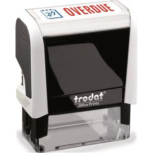 Trodat Printy 4912 (46mm x 18mm) Self-Inking Word Stamp (Red/Blue) 'Overdue'