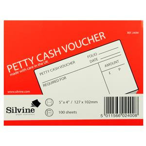 Value Silvine Petty Cash Pad 5 x 4 inches 100 Leaves White (Pack 24)