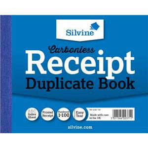 "Value Silvine Duplicate Book Carbonless 105mmx130mm (4""x5"")  1-100 (Pack 12)"