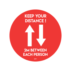 Twin Pack Avery COVID-19 Red Social Distance Circular Floor Sticker 405mm