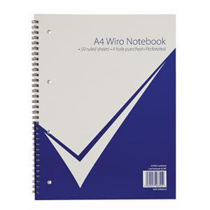 Value A4Wiro Notebook 100 Pages 50 Sheets Feint Ruled 4 Hole Punched Perforated