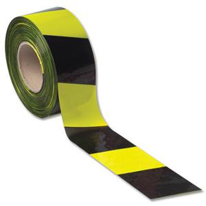 Value Barrier Tape in Dispenser Box 70mmx50m Yellow and Black