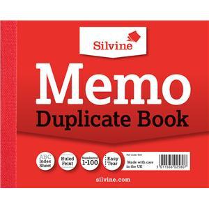 """Value Silvine Duplicate Book Memo Ruled Feint 1-100 (Pack 12)102mmx127mm (4""""x5"""")"""