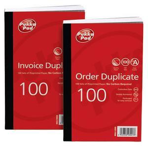 "Value Pukka Pads 210 x 130mm (8""x5"")Pre-Printed Invoice Duplicate Book (White)"
