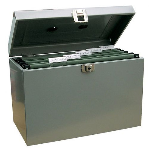 Value A4 Metal File Box with 5 Suspension Files (Grey)