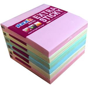 "Value Stick'N Extra Sticky 76mm x 76mm (3"" x 3"") Pastel Assorted (Pack of 6)"