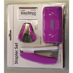 Value Stapler, Punch, Staples, Staple Remover Purple