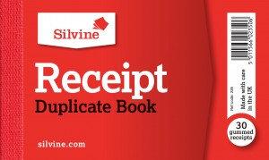 """Value Silvine 63mmx106mm(2.5"""" x 4"""") Duplicate Receipt Book (Pack of 36)"""