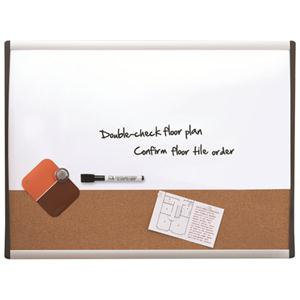 Value Nobo (585 x 430mm) Combo (Dry Erase/Cork) Board with Black and Silver Arch