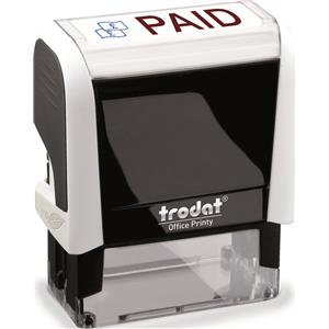 Value Trodat Printy 4912 (46mm x 18mm) Self-Inking Word Stamp (Red/Blue) 'Paid'