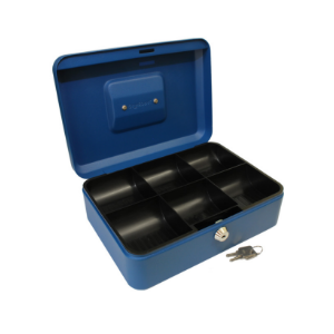 Value 30cm (10 Inch) Key Lock Metal Cash Box Black/Blue/Red