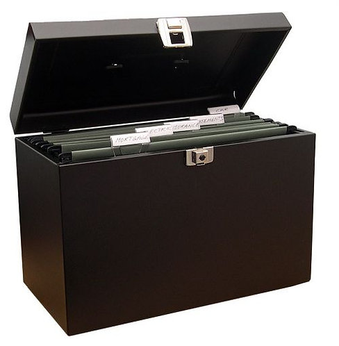 Value A4 Metal File Box with 5 Suspension Files (Black)