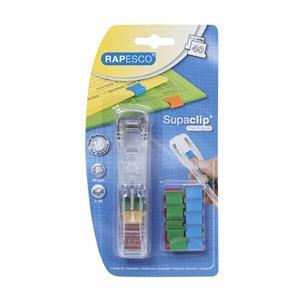 Value Rapesco Supaclip 40 Dispenser with 25 Clips (Multicoloured) for 40