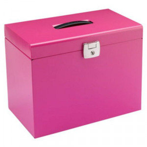 Value A4 Metal File Box with 5 Suspension Files (Pink)