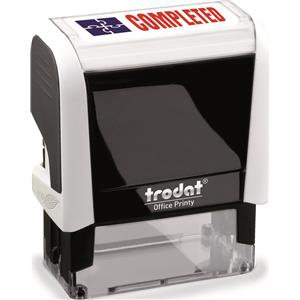 Value Trodat Printy 4912 (46mm x 18mm) Self-Inking Word Stamp (Red/Blue) 'Comple
