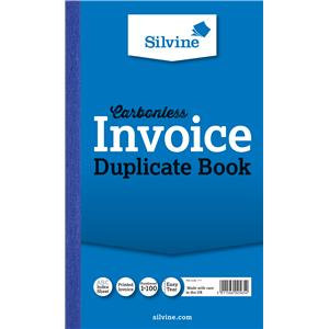 """Value Silvine Duplicate Invoice Book Carbonless 216mmx130mm (8""""x5"""") Pack of 6"""