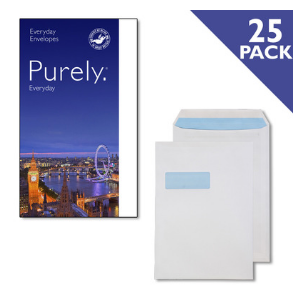 Value Purely C4 (A4) Everyday White Pocket Self Seal Window Envelope (Pack 25)