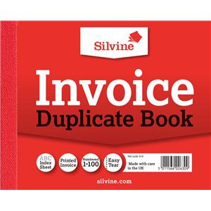 "Value Silvine Duplicate Book Invoice 102mmx127mm (4""x5"") Pack of 12"
