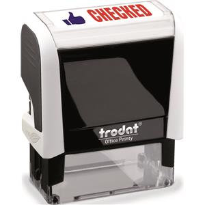 Value Trodat Printy 4912 (46mm x 18mm) Self-Inking Word Stamp (Red/Blue) 'Checke