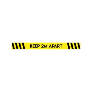 Twin Pack Avery COVID-19 Black & Yellow Floor Sticker 100mm x 140mm