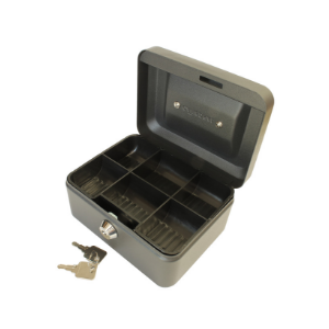 Value 15cm (6 inch) Key Lock Metal Cash Box (Choice of Colour) Black/Blue/Red