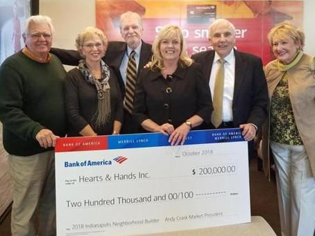 Hearts & Hands Receives $200,000 Grant