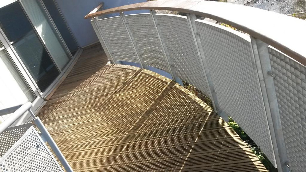 Wood decking after treatment with 4Earth Cleaning Supplies products