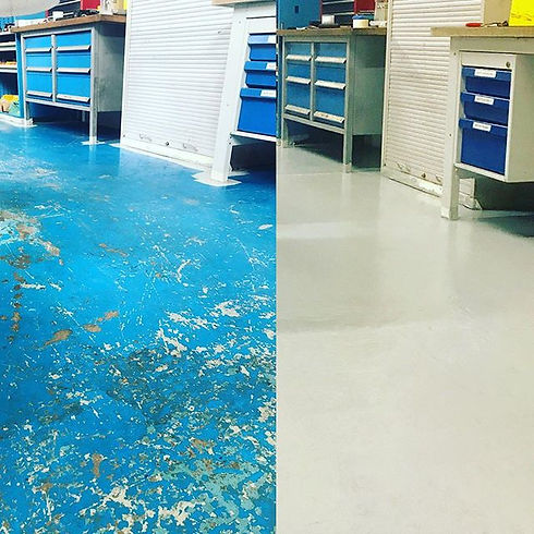 Factory floor renovation before and afte