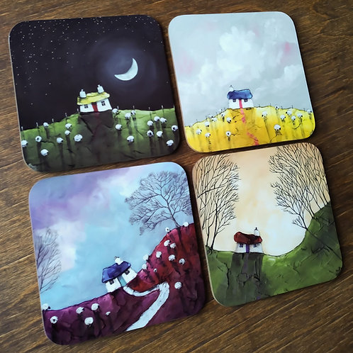 Cottages - Set of 4 Coasters