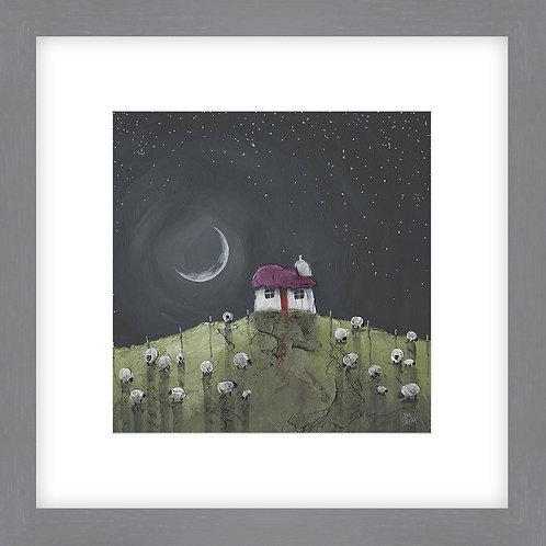 Moonlit House - Framed Print